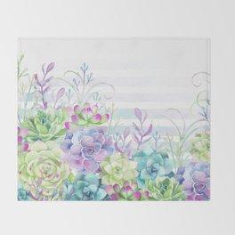 Summer Succulents Throw Blanket