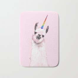 Unicorn Llama in Pink Bath Mat