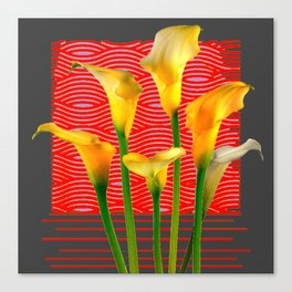 White Lily Amoung The Golden Calla Lilies Canvas Print