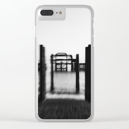 Zooming in on the West Pier (B&W) Clear iPhone Case