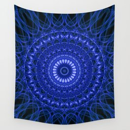 Dark blue mandala Wall Tapestry