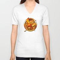 mockingjay V-neck T-shirts featuring Mockingjay by Joshua Epling