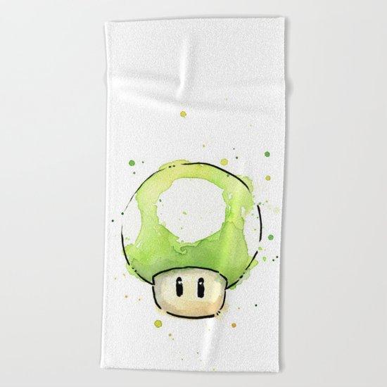 1UP Green Mushroom Painting Mario Gaming Geek Videogame Art Beach Towel