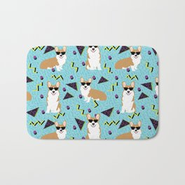 Rad Corgi Dog - 80s, 90s retro style rad corgi cute corgi design Bath Mat
