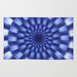 Round blue / white winter pattern design Rug