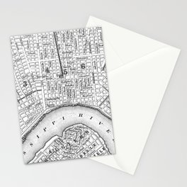 Vintage Map of New Orleans (1880) BW Stationery Cards