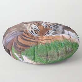 Fascinating Phenomenal Grown Tiger Chilling In Habitat Close Up Ultra HD Floor Pillow