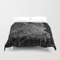 milwaukee Duvet Covers featuring milwaukee map by Line Line Lines