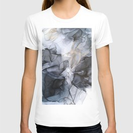Calm but Dramatic Light Monochromatic Black & Grey Abstract T-Shirt