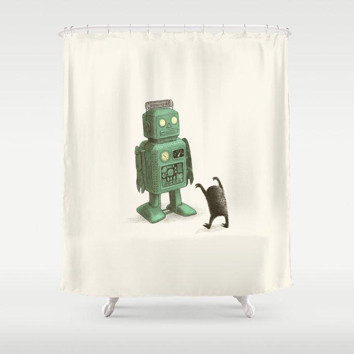 Robot Vs Alien Shower Curtain
