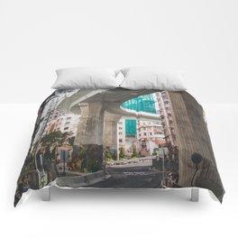 Hong Kong Street Bridge Comforters