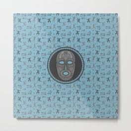 Aboriginal Mask and pattern - Pastel Blue and grey Metal Print