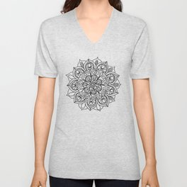 Mandala Black 3 Unisex V-Neck
