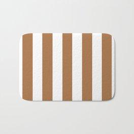 Metallic bronze - solid color - white vertical lines pattern Bath Mat