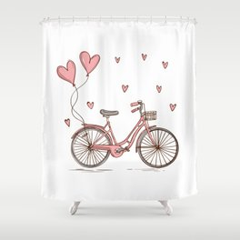 Retro vintage bicycle print with heart shaped balloons Shower Curtain