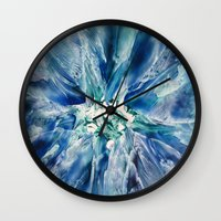 geode Wall Clocks featuring Aquamarine Geode by Dallas Manicom