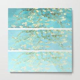 Vincent Van Gogh Almond Blossoms  Panel arT Aqua Seafoam Metal Print
