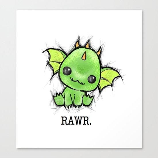 Baby Dragon Kawaii Canvas Print