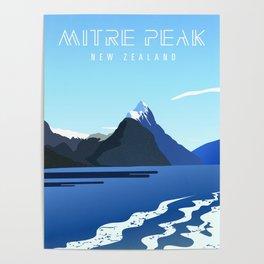 New Zealand Mitre Peak Travel Poster Poster