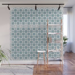 Portuguese Tiles of the Algarve in White with Glitch Wall Mural
