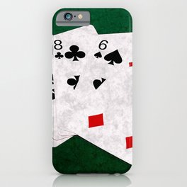Poker Hand High Card Queen Ten Eight Six Four iPhone Case