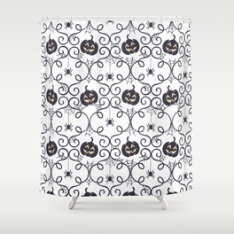 happy hallowen curves and pumkins pattern Shower Curtain