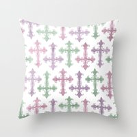 pastel goth Throw Pillows featuring Pastel Goth | Grunge by Glitterati Grunge