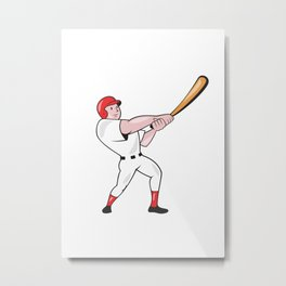 Baseball Player Swinging Bat Cartoon Metal Print