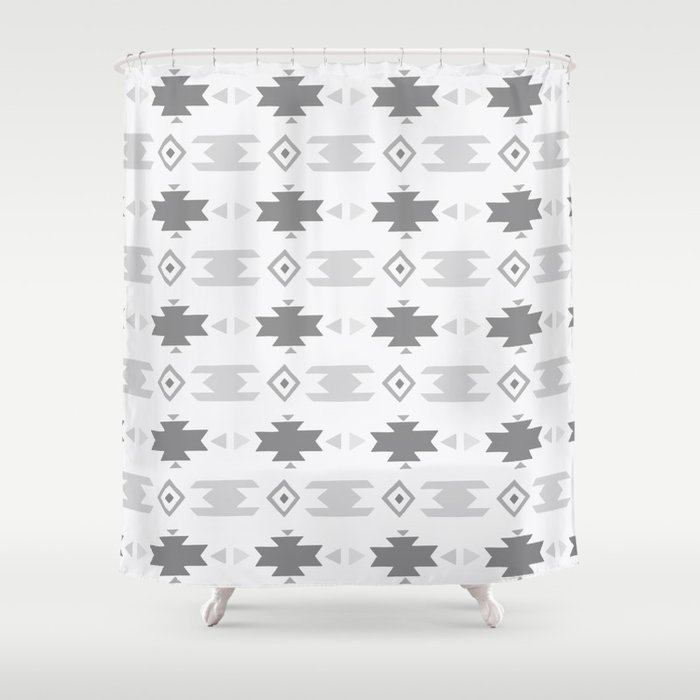Southwestern Pattern Gray Cream Shower Curtain By Naturemagick