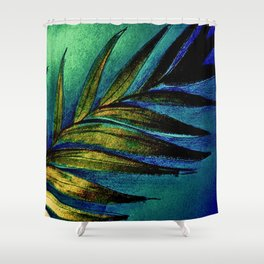 METALLIC PEACOCK COLOURS PEARL LUSTRE LEAF PRINT Shower Curtain