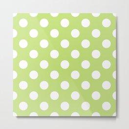 Alien Armpit - green - White Polka Dots - Pois Pattern Metal Print