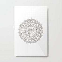 Mandala with Full Moon Illustration Metal Print