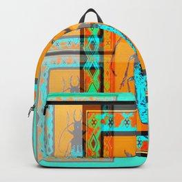 DOUBLE EXPOSURE TURQUOISE BEETLE ORANGE ART Backpack
