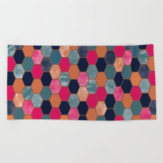 Colorful Honeycomb Beach Towel