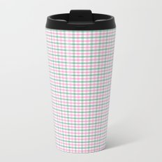 Gingham pink and forest green Metal Travel Mug