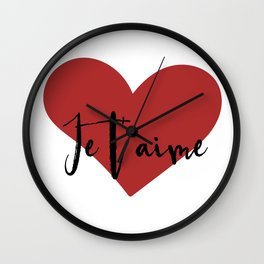 Je t'aime - Love Heart Valentines Day quote Wall Clock