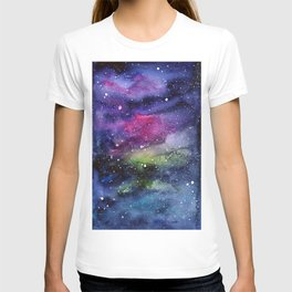 Galaxy Watercolor Night Sky Painting Nebula Art T-shirt
