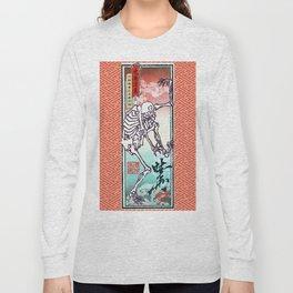 Kyosai's Dancing Skeleton with Auspicious Sayagata Long Sleeve T-shirt