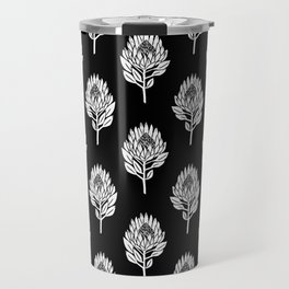Linocut Protea flower printmaking pattern black and white floral Travel Mug