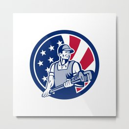 American Plumber and Pipefitter USA Flag Icon Metal Print