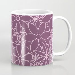 Stylized Flower Bunch Pink & Plum Coffee Mug