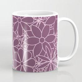 Stylized Flower Bunch Pink & Plum Coffee Mug
