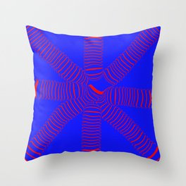 8 arms, red on blue Throw Pillow