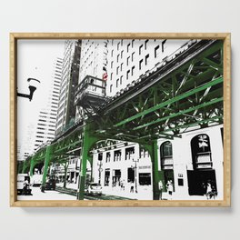 Chicago photography - Chicago EL art print in green black and white Serving Tray