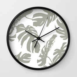 Simply Retro Gray Palm Leaves on White Wall Clock