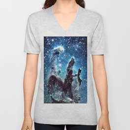 Pillars of Creation Nebula: Ocean Blue Galaxy Unisex V-Neck