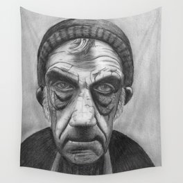 Old Sailor in Pencil Wall Tapestry
