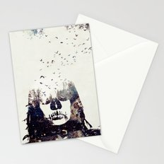 Tousled bird mad girl Stationery Cards