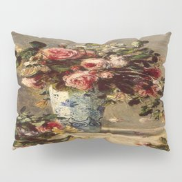Pierre-Auguste Renoir's Roses and Jasmine in a Delft Vase Pillow Sham