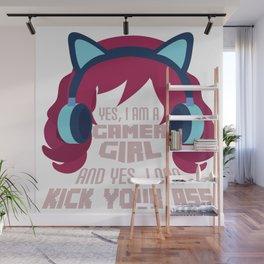 Typical Gamer Girl  Gaming Headphone Nerdy Gift Wall Mural
